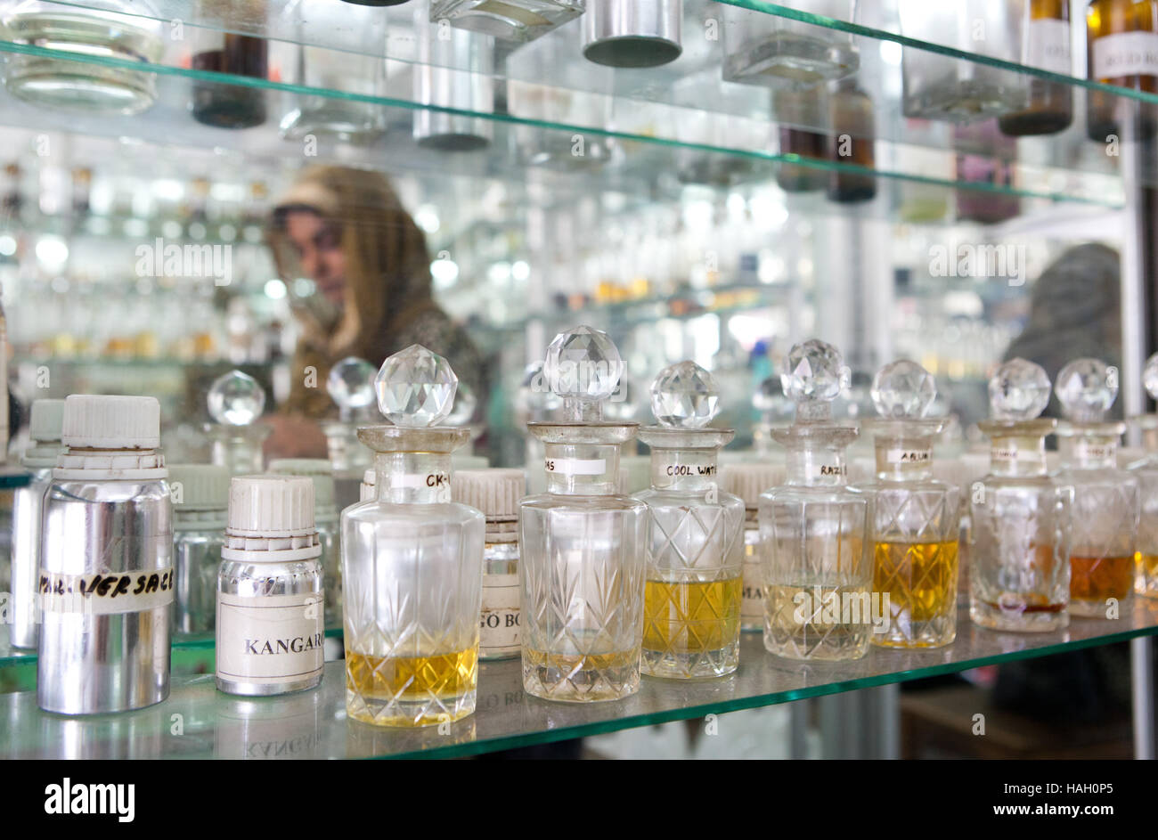Perfume and aromatic oil shop in Cochin,India. - Stock Image