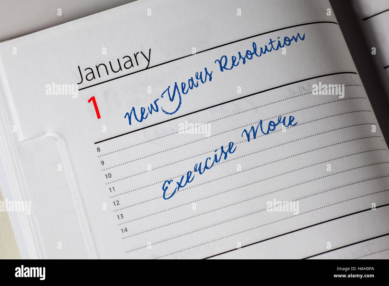 New Years Resolution in the diary - Stock Image