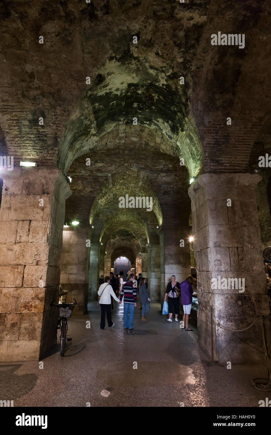 Underground of Diocletian's Palace, Split, Croatia. - Stock Image