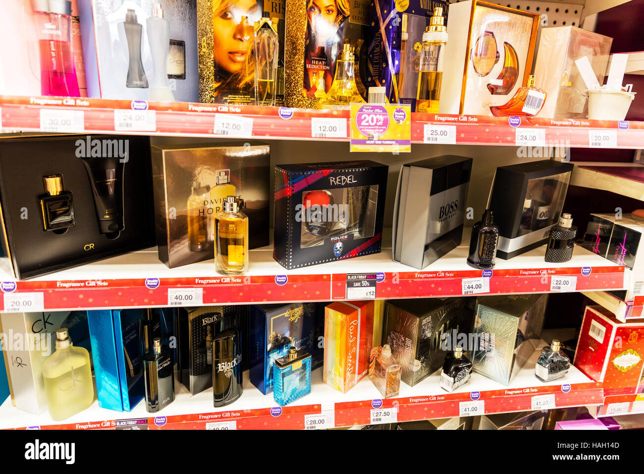 fragrances, perfume, aftershave, Product products pharmacy health shop UK England GB - Stock Image