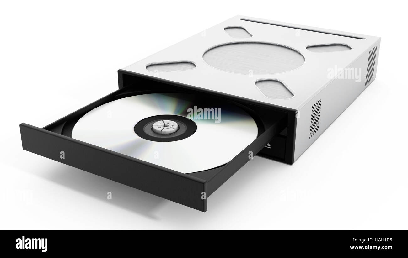 Internal disc drive isolated on white background. 3D illustration - Stock Image