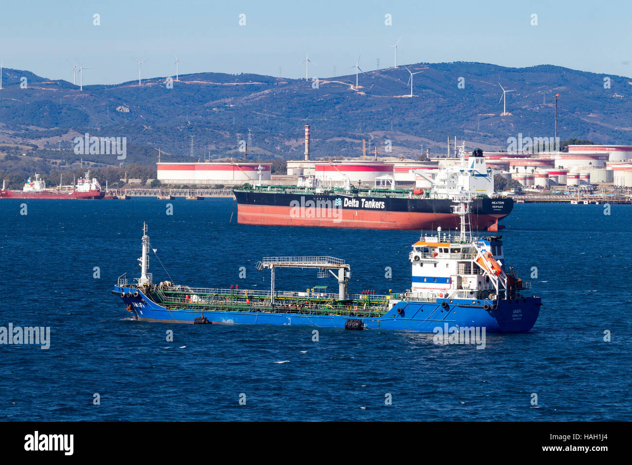Gibunker 100, Oil, Products, Tanker,  and Meltemi Delta Tankers, Crude Oil carrierer off  San Roque  Refinery Stock Photo