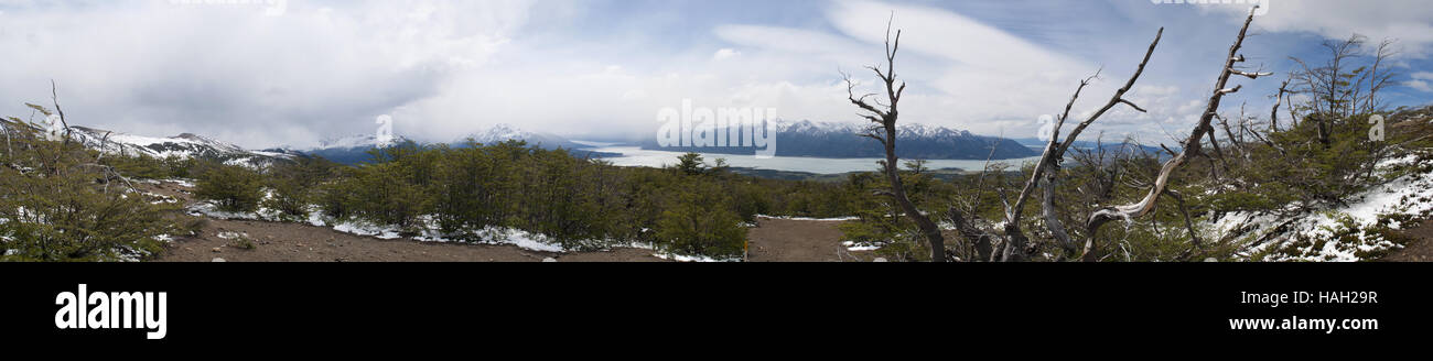 Patagonia, Argentina, Los Glaciers National Park: breathtaking Patagonian landscape with view of Perito Moreno Glaciar, - Stock Image