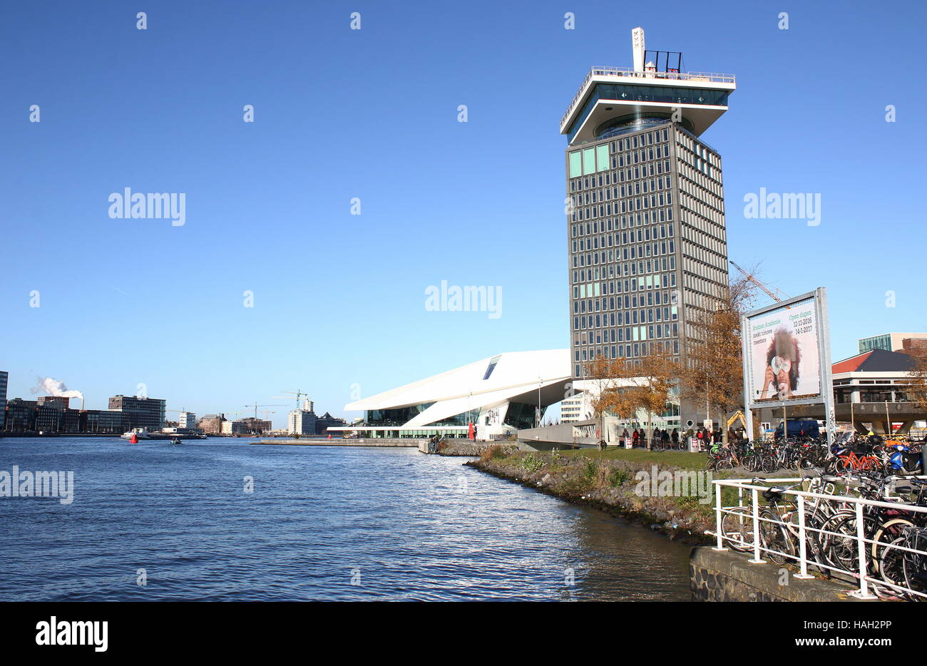 EYE Film Institute Netherlands, Amsterdam. Dutch Film archive & museum in Amsterdam-Noord at IJ River. In front - Stock Image