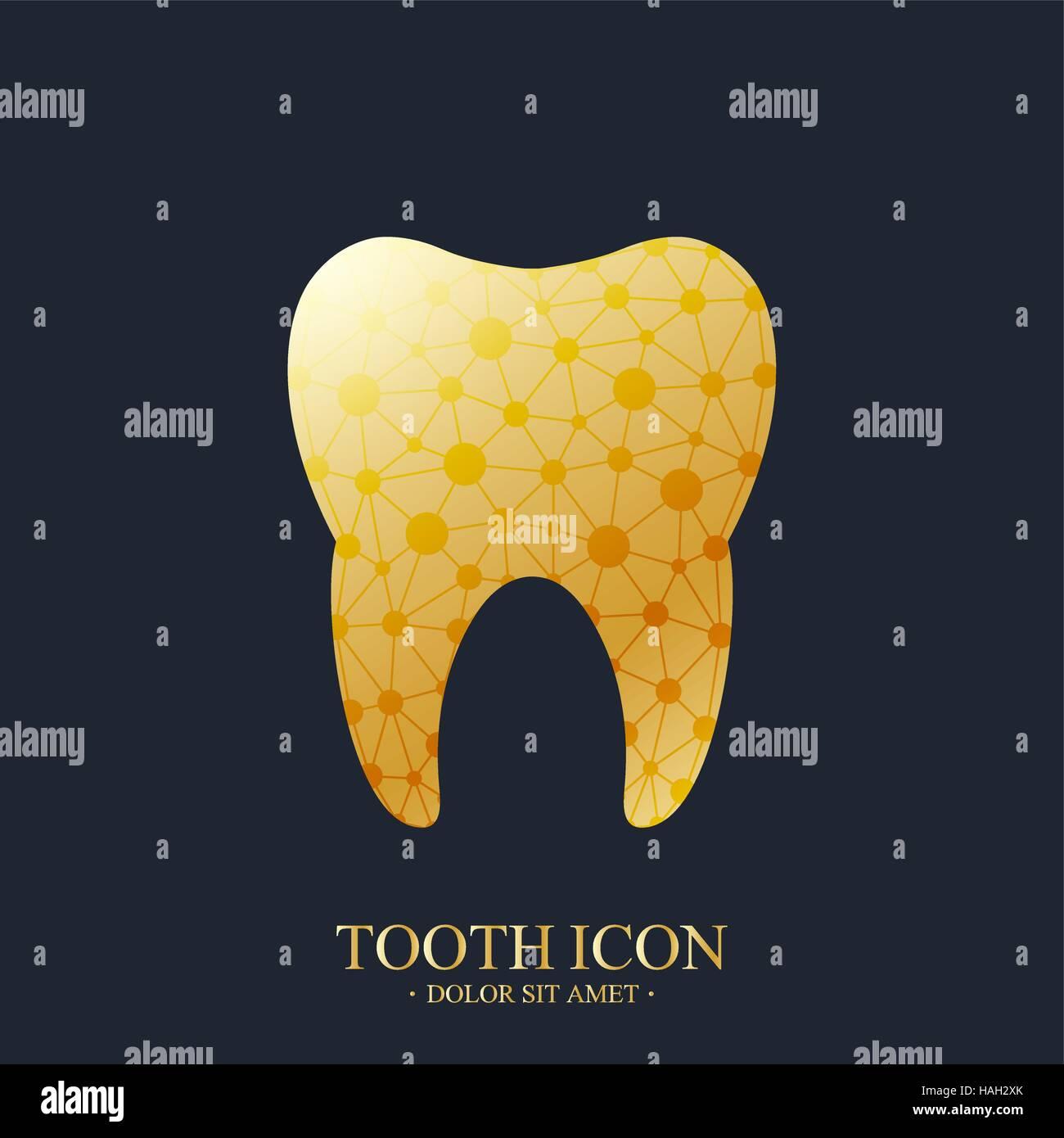tooth vector logo template medical design golden tooth logo