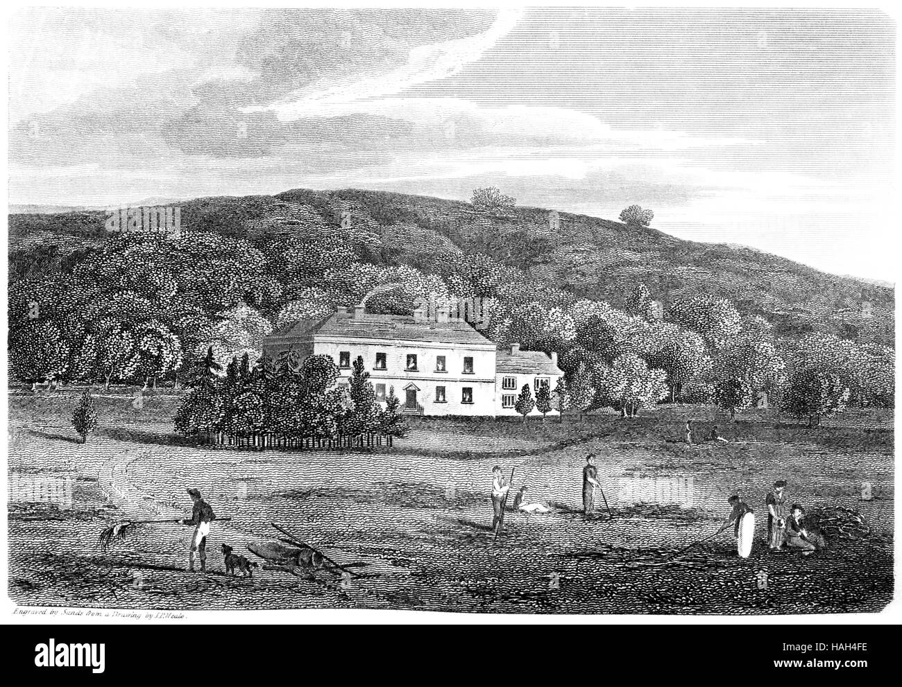 An engraving of Stradmore House, Cardiganshire scanned at high resolution from a book printed in 1812. Believed - Stock Image