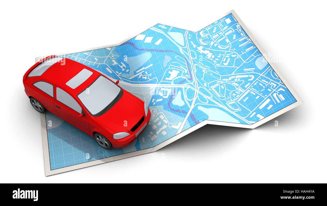 3d illustration of red car and city map, over white background - Stock Image
