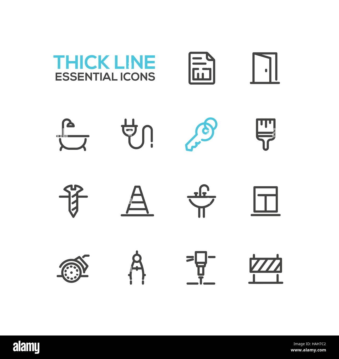 Home, Road Repair - Thick Line Icons Set - Stock Vector