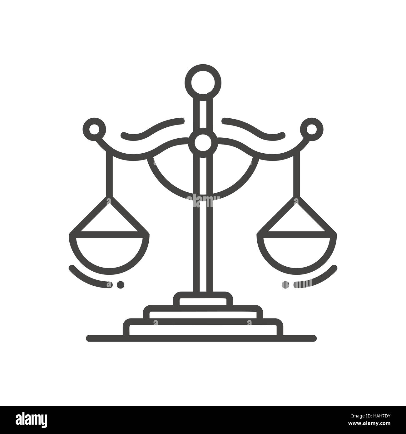 Scales of Justice - line design single isolated icon - Stock Vector