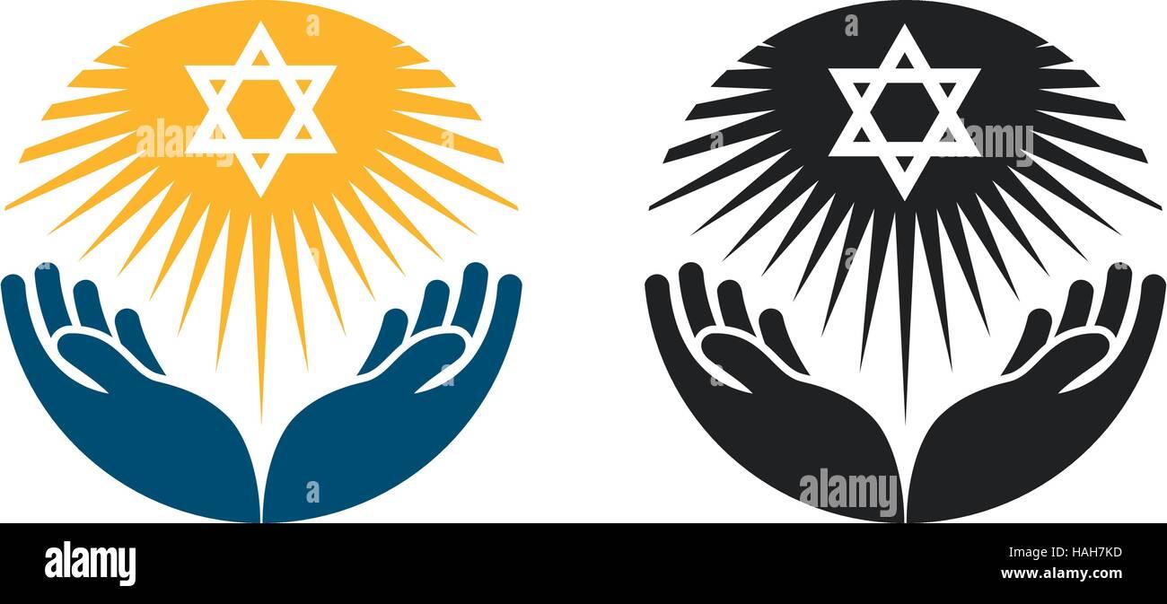Judaism vector logo. Star of David or Religion icon - Stock Image