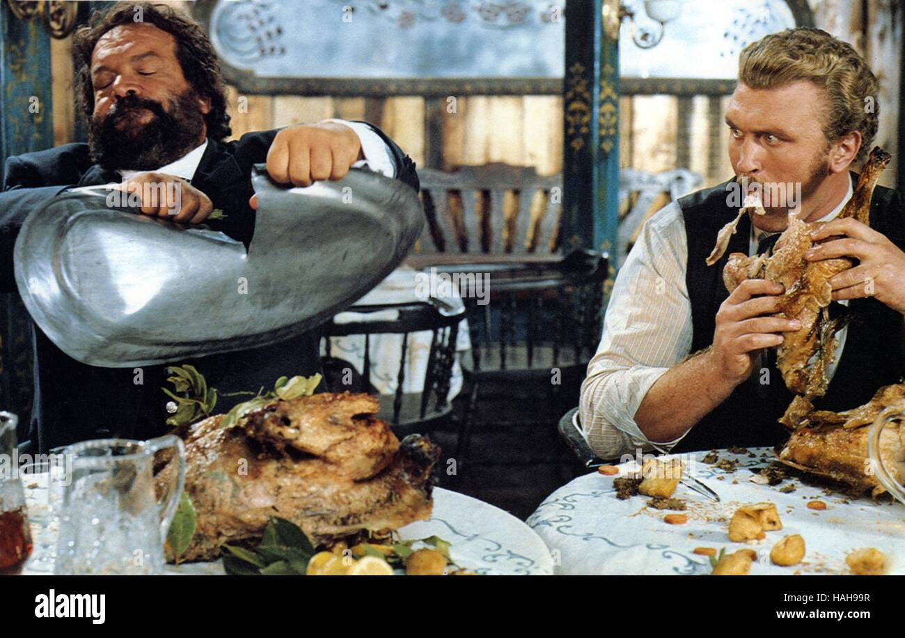 Buddie goes West Occhio alla penna  Year : 1981 Italy Director : Michele Lupo Bud Spencer, Joe Bugner - Stock Image