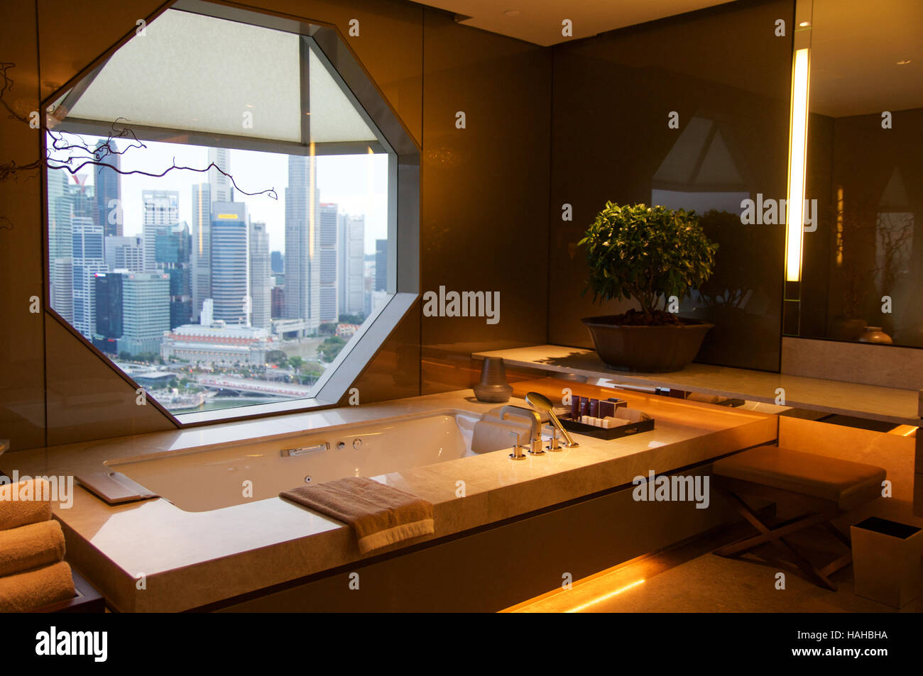 singapore july 23rd 2016 luxury hotel room with modern interior beautiful large bathroom marble