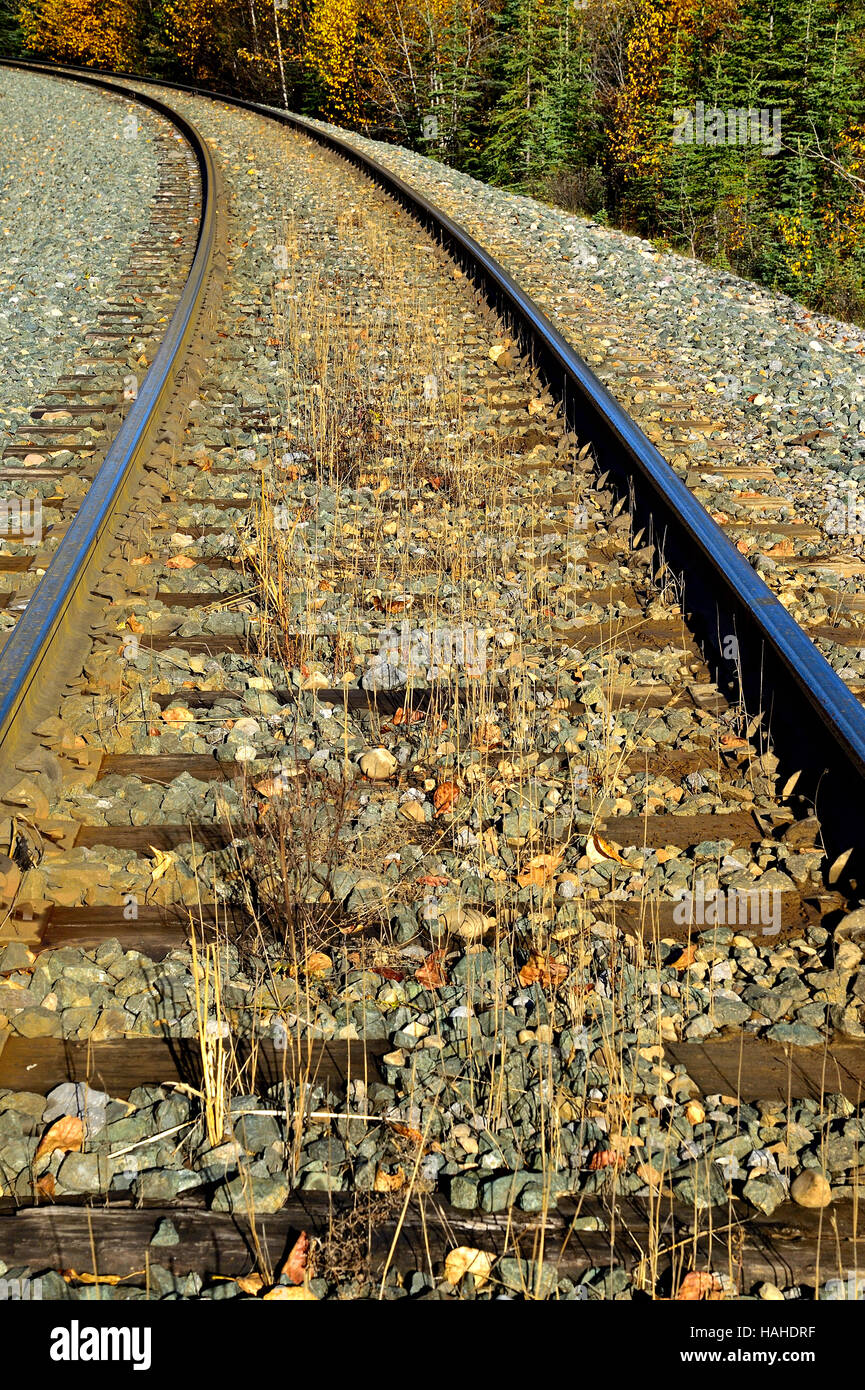 A vertical image of a rail line rounding a curve on a rural stretch of track in Alberta Canada. - Stock Image