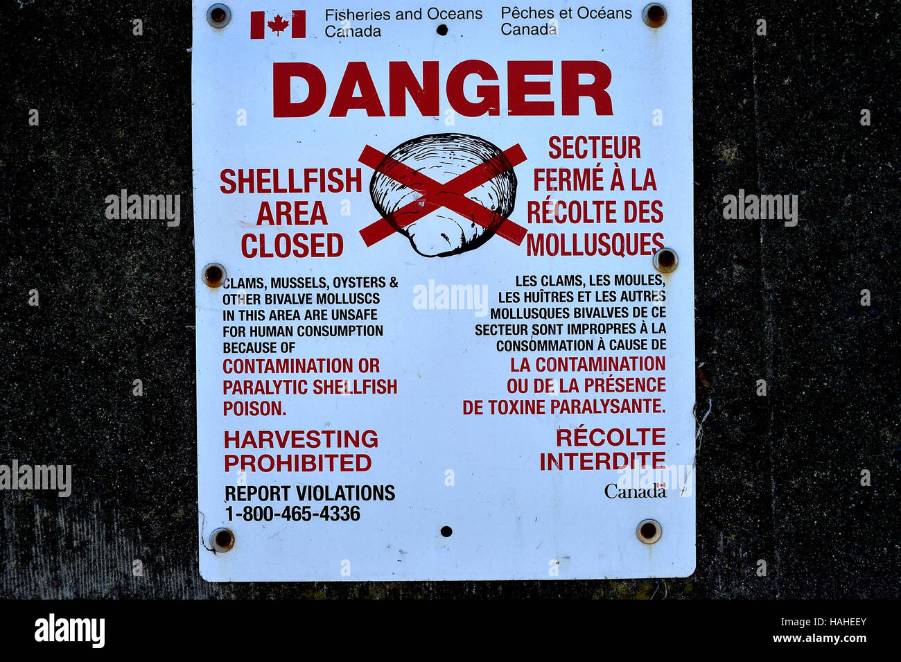 A Canadian Department of Fisheries warning sign - Stock Image