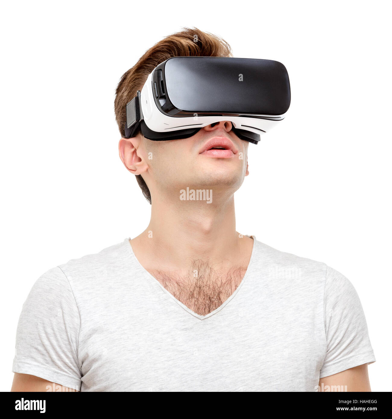 Man with virtual reality goggles - Stock Image