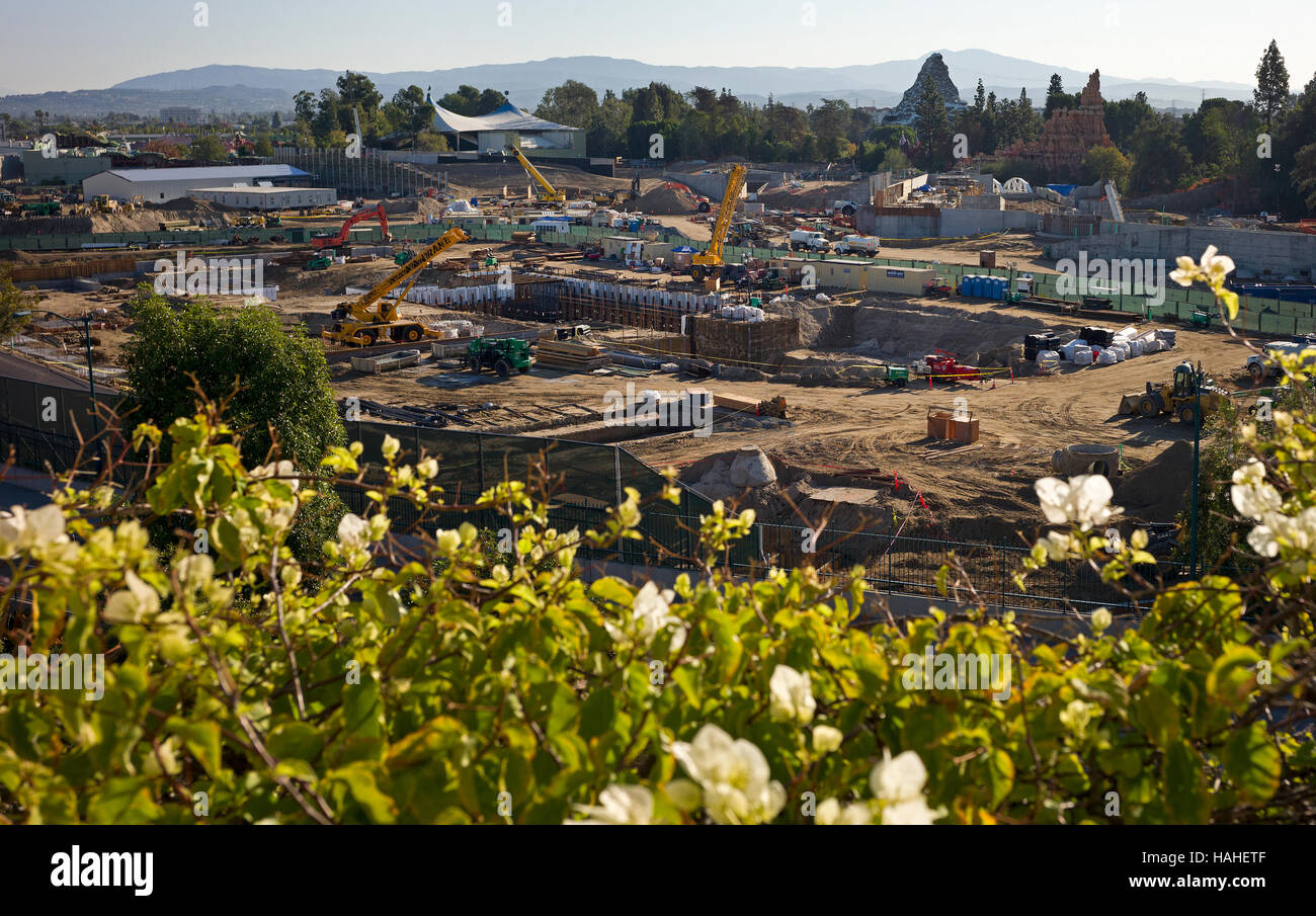 Construction continues on new Star Wars land in Disneyland - Stock Image