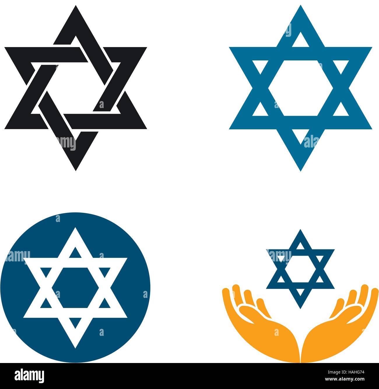 Star of David vector logo. Judaism or Jewish set icons Stock Vector