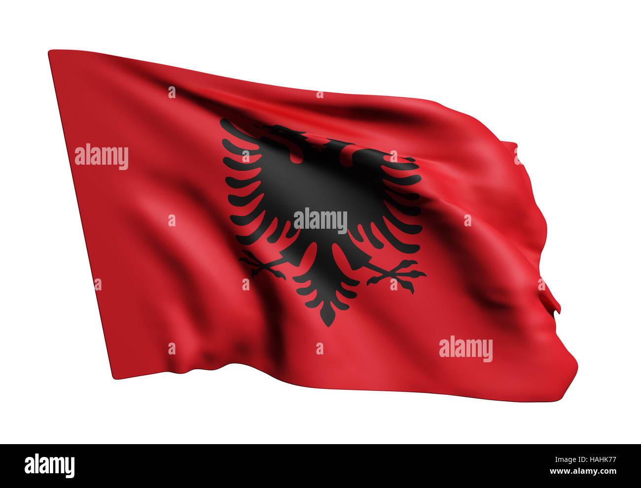 3d rendering of an Albania flag on white background. - Stock Image