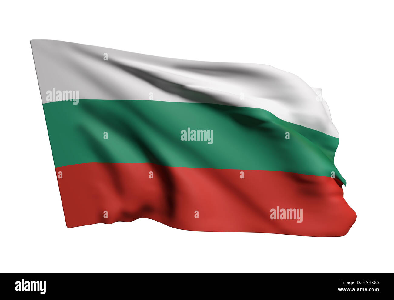 3d rendering of a Bulgaria flag waving on white background Stock Photo
