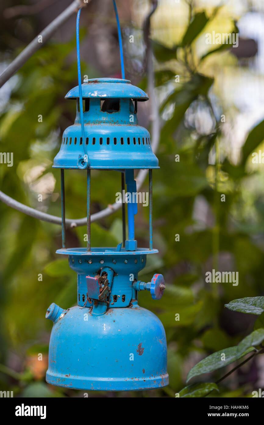 Vintage, blue kerosene lamp - Stock Image