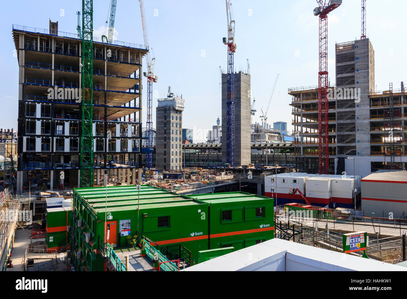 Building work start in the redevelopment of King's Cross, London, UK, July 2013 Stock Photo