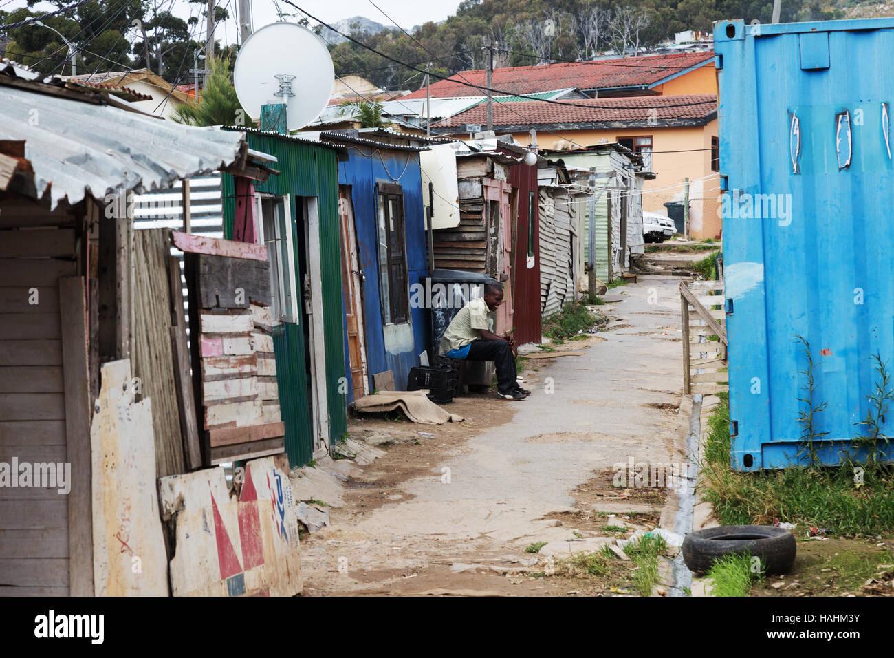 A street scene, Imizamo Yethu township, Cape Town, South Africa Stock Photo