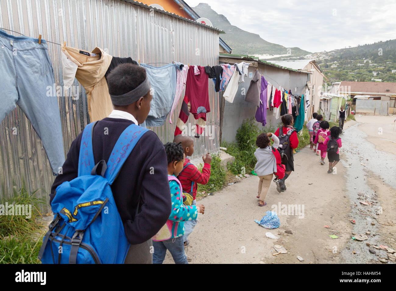 Street scene, Imizamo Yethu township, Hout Bay, Cape Town, South Africa Stock Photo