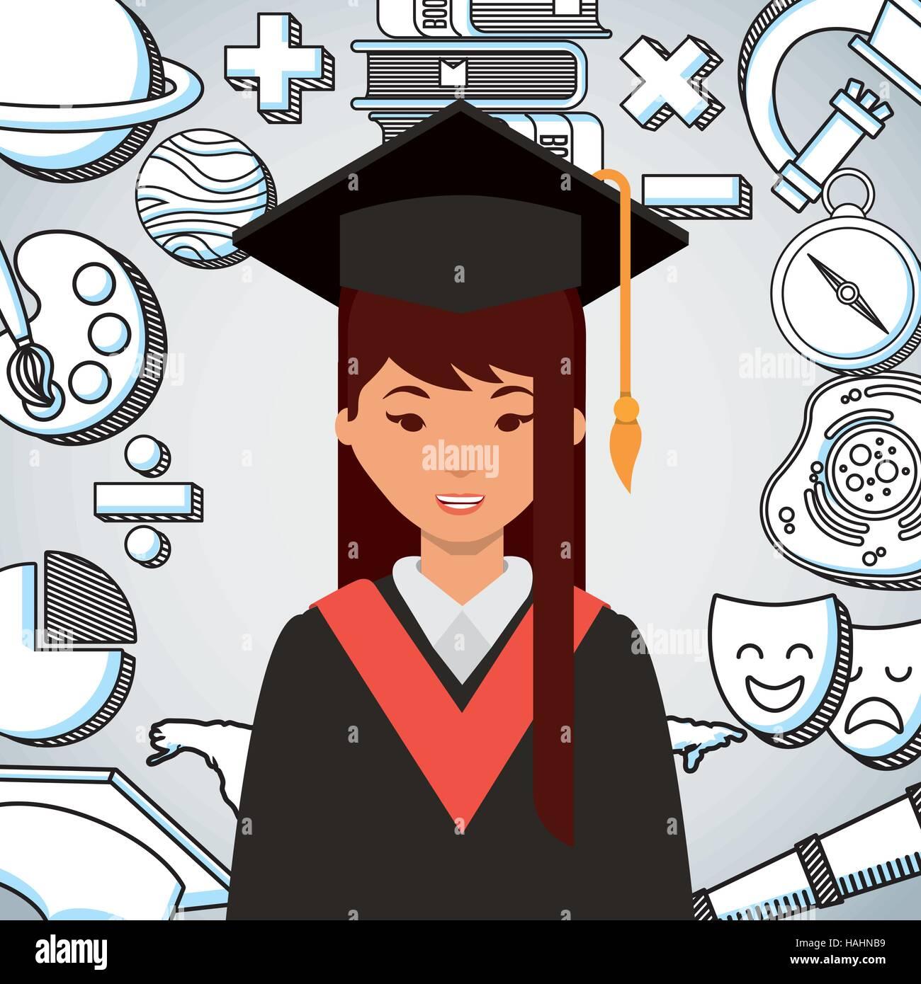 Cartoon Graduate Woman Graduation Gown Stock Photos & Cartoon ...