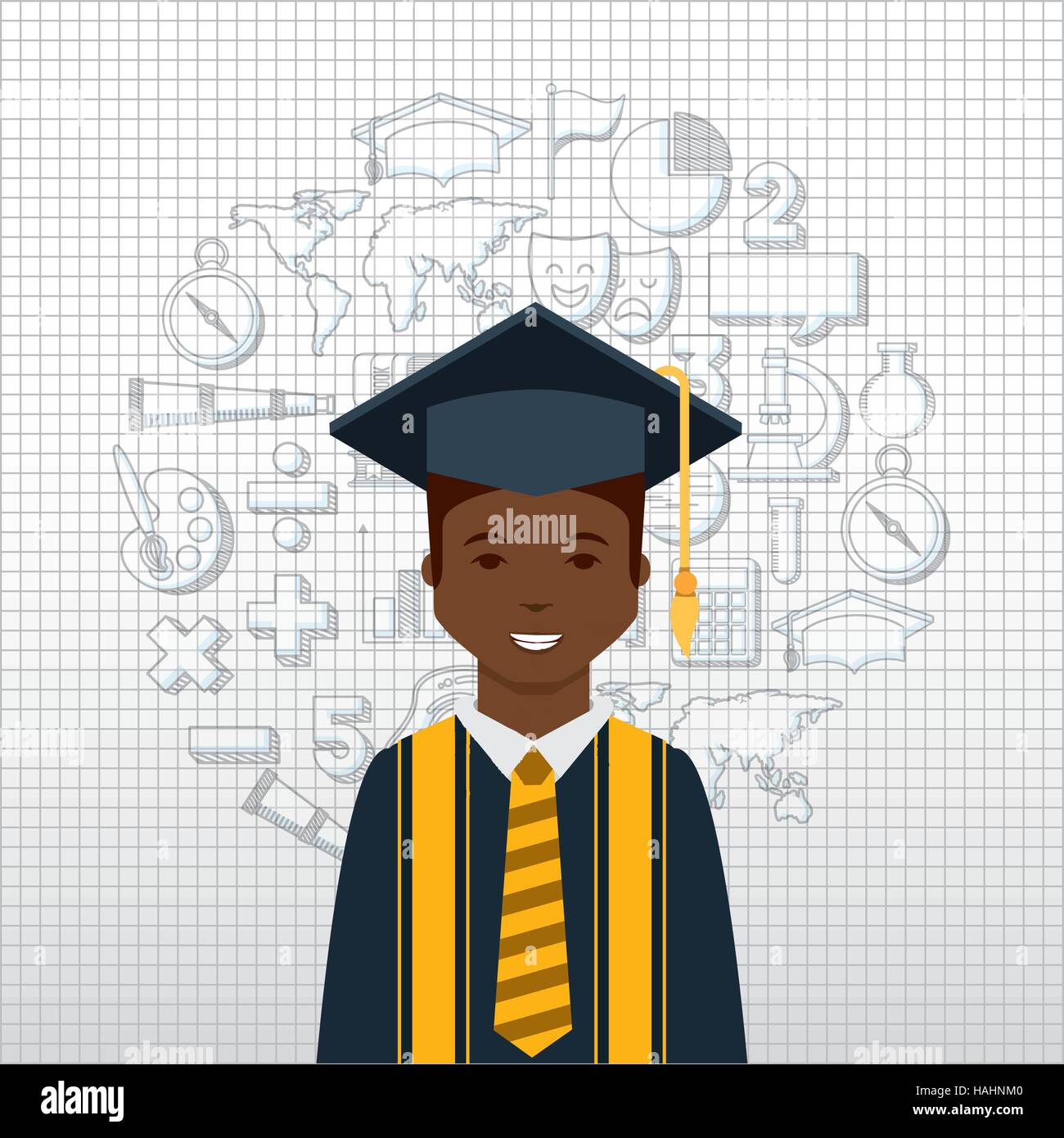 cartoon graduate man smiling with graduation gown and hat icon over ...