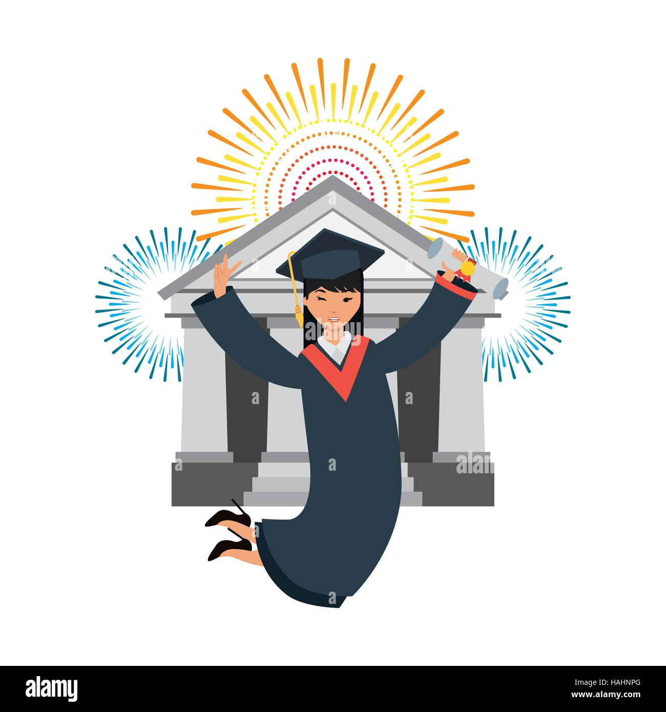 cartoon graduate woman jumping with graduation gown and hat icon ...