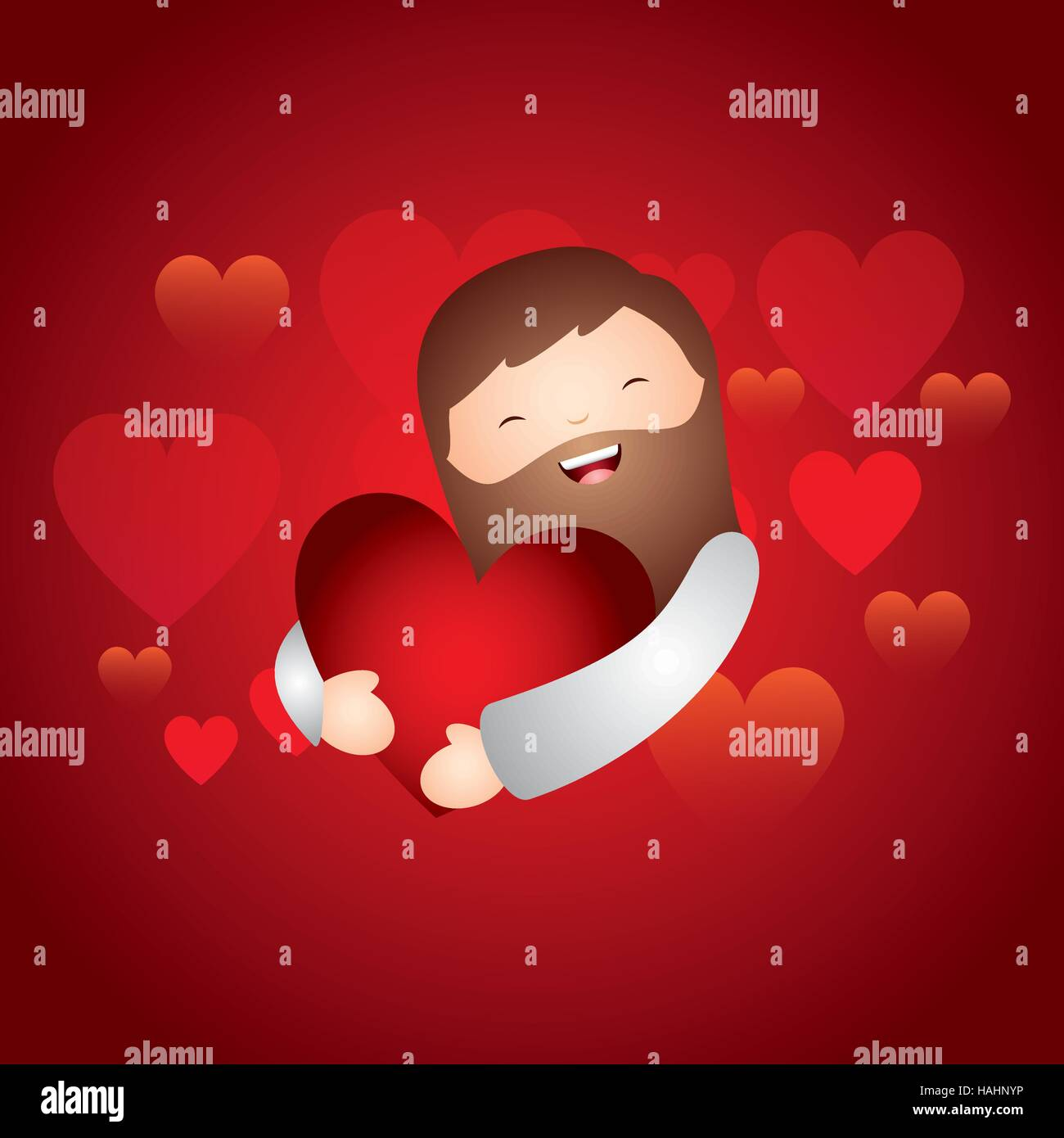 Cartoon Jesus Man Hugging A Red Heart Over Red Background Colorful Stock Vector Image Art Alamy