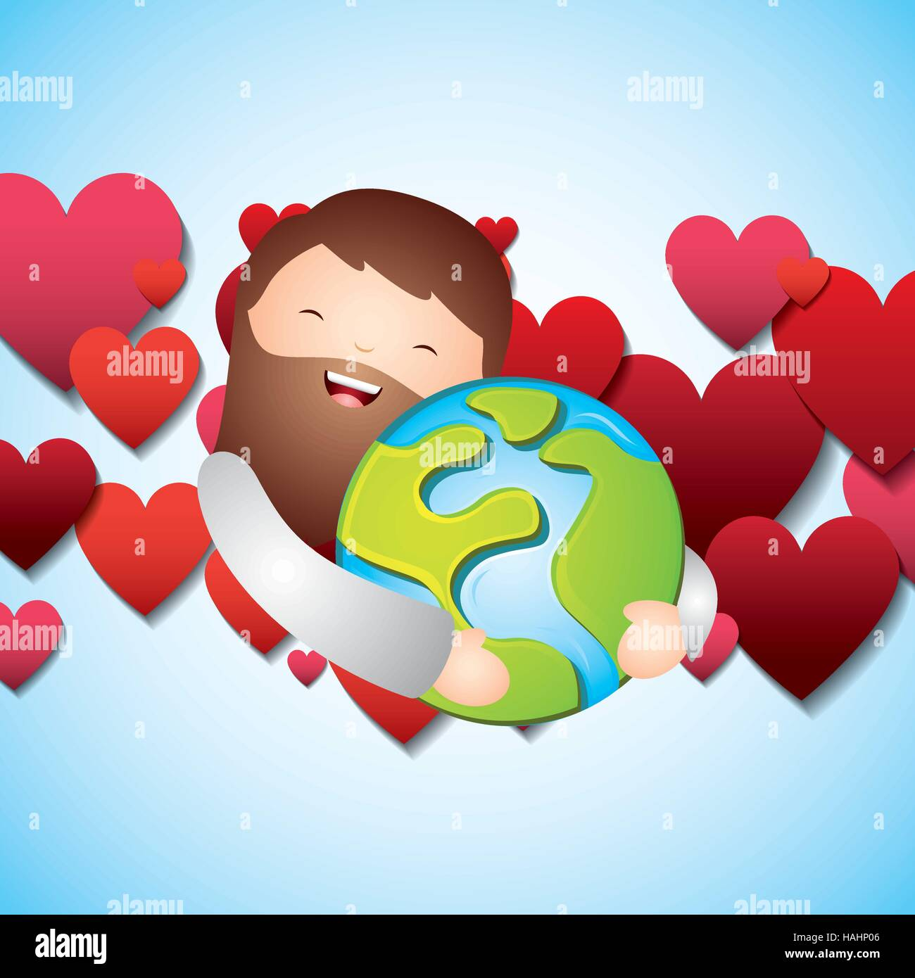 Cartoon Jesus Man Hugging A Earth Planet And Red Hearts Around Stock Vector Image Art Alamy