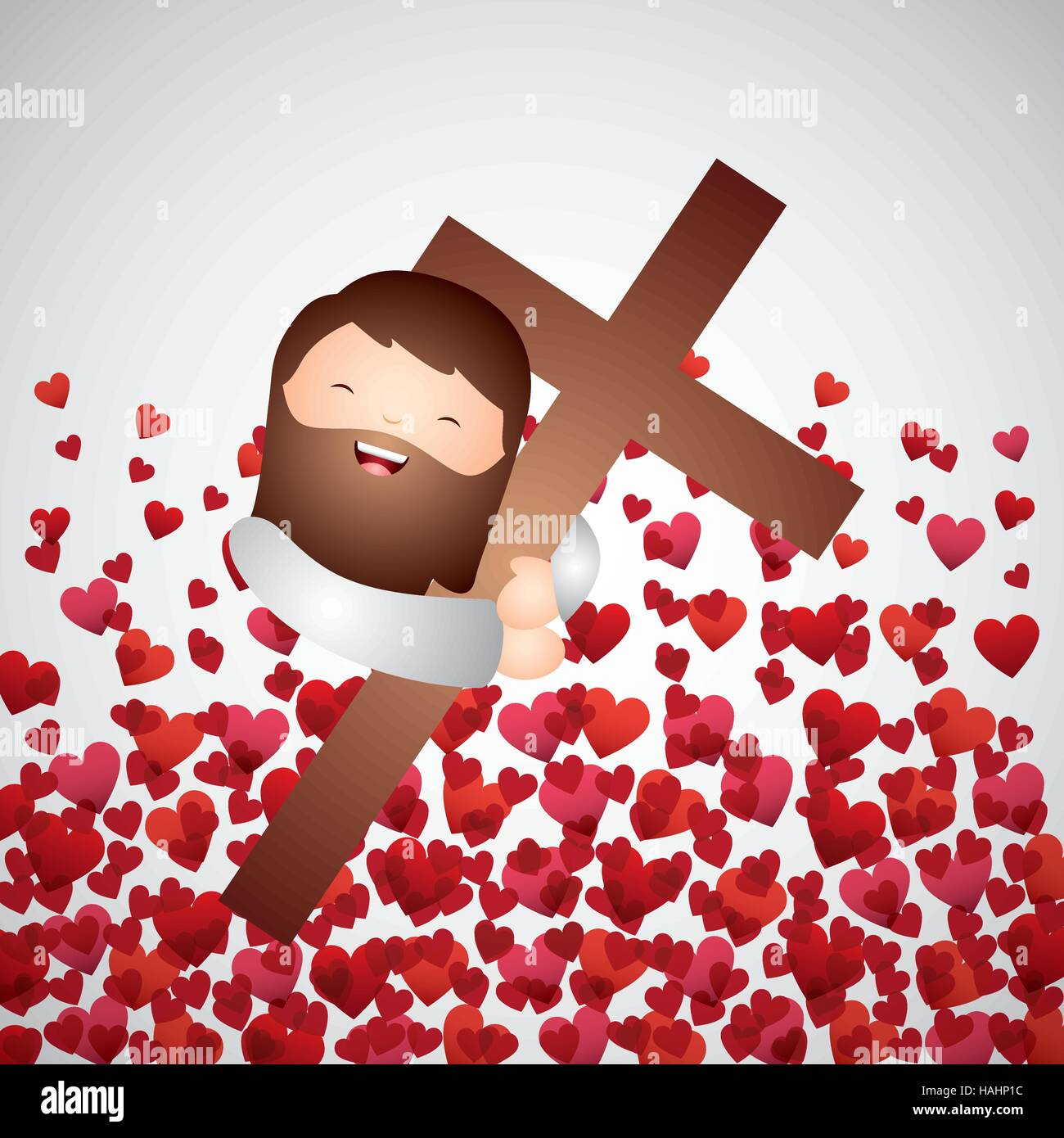 cartoon jesus man hugging a wooden cross over red hearts background Stock  Vector Image & Art - Alamy