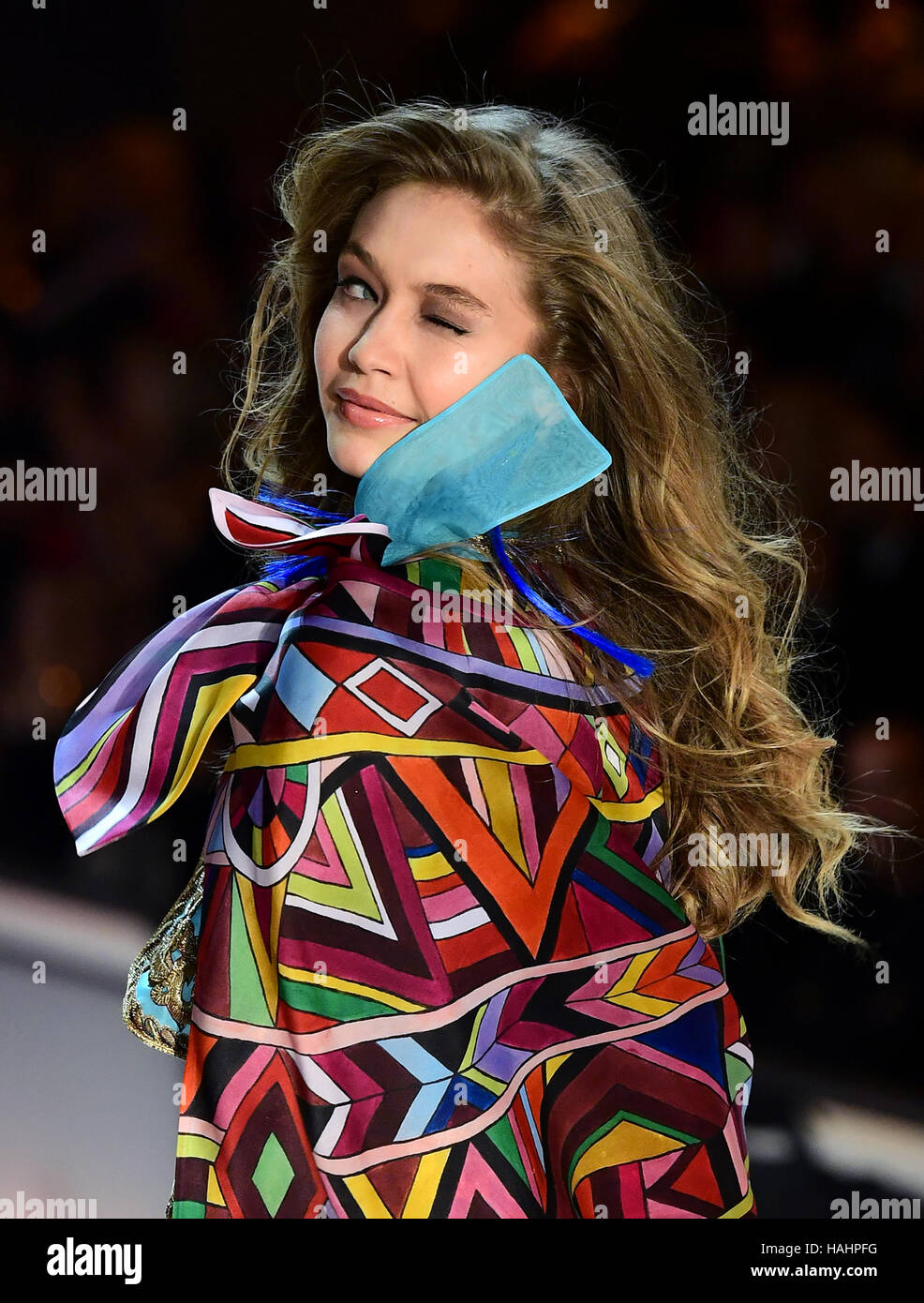 Gigi Hadid during the Victoria's Secret fashion show, held at The Grand Palais in Paris, France. Stock Photo
