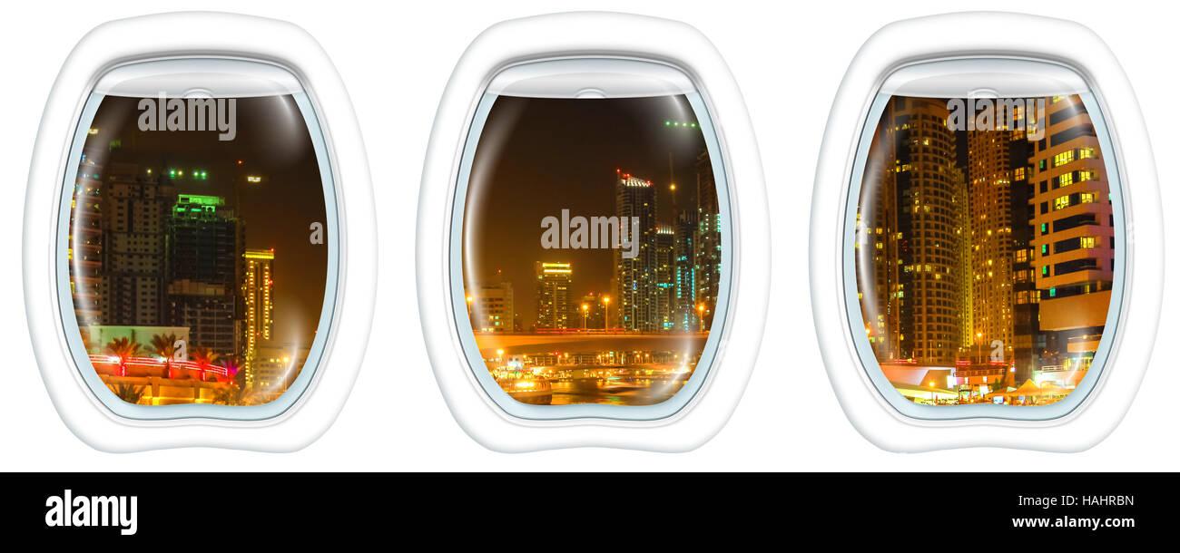 Dubai Marina on window - Stock Image