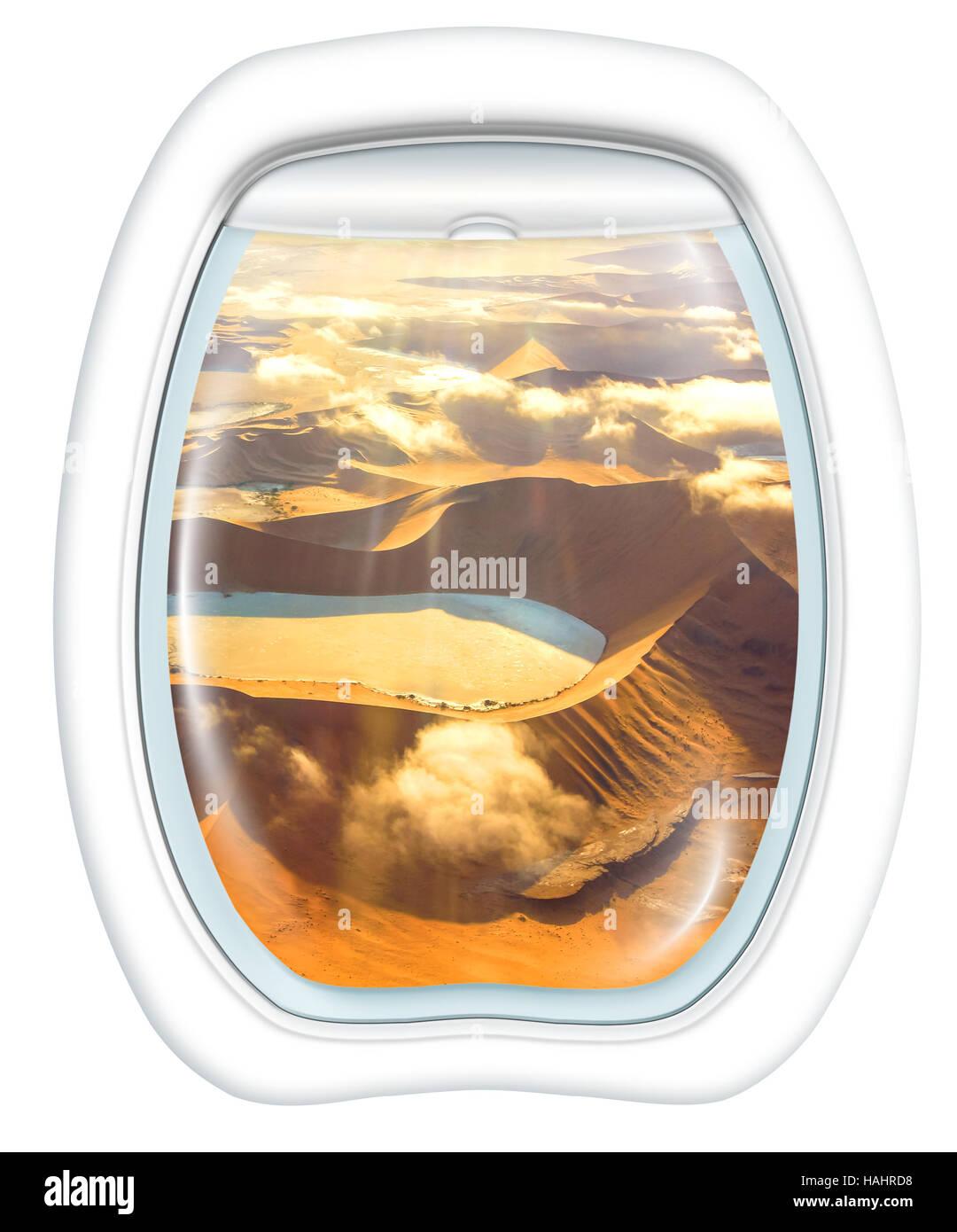 Scenic flight in Sossusvlei Desert - Stock Image