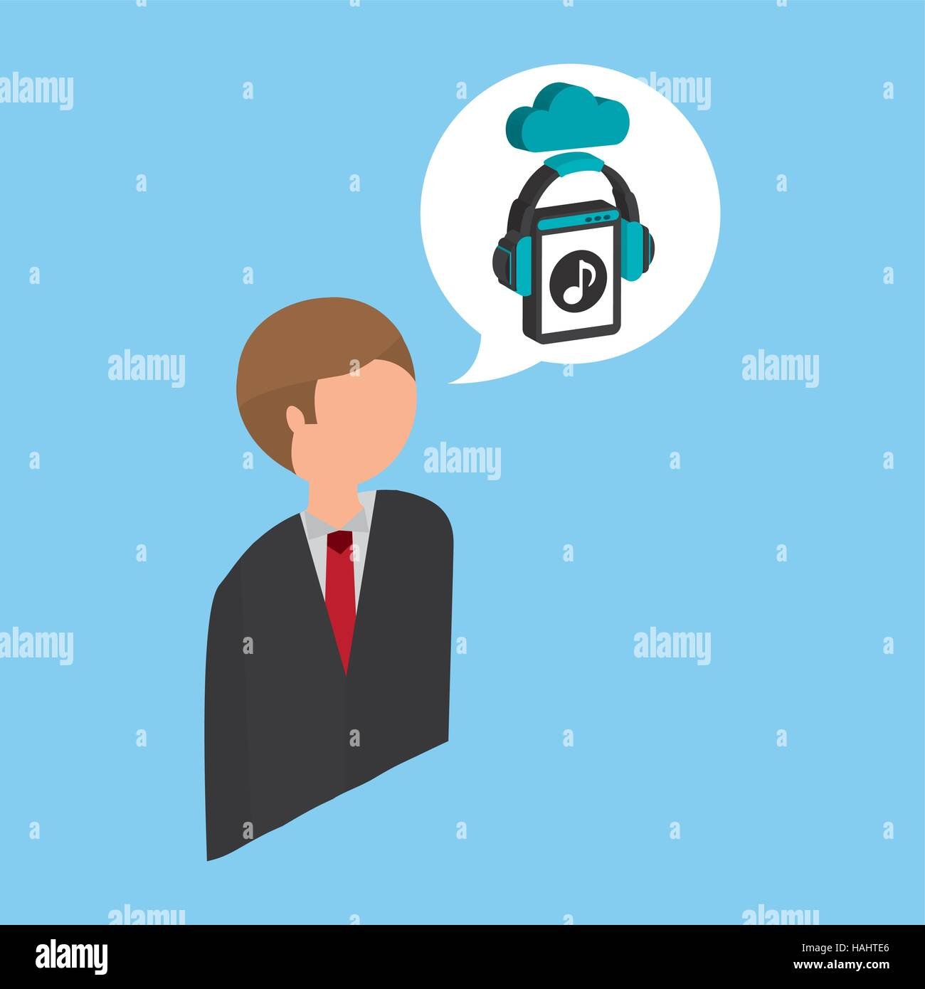 businessman music streaming design vector illustration eps 10 - Stock Image