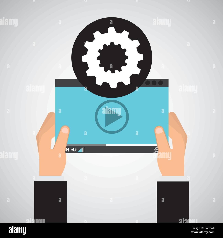 hand holds digital gear player vector illustration eps 10 Stock Vector
