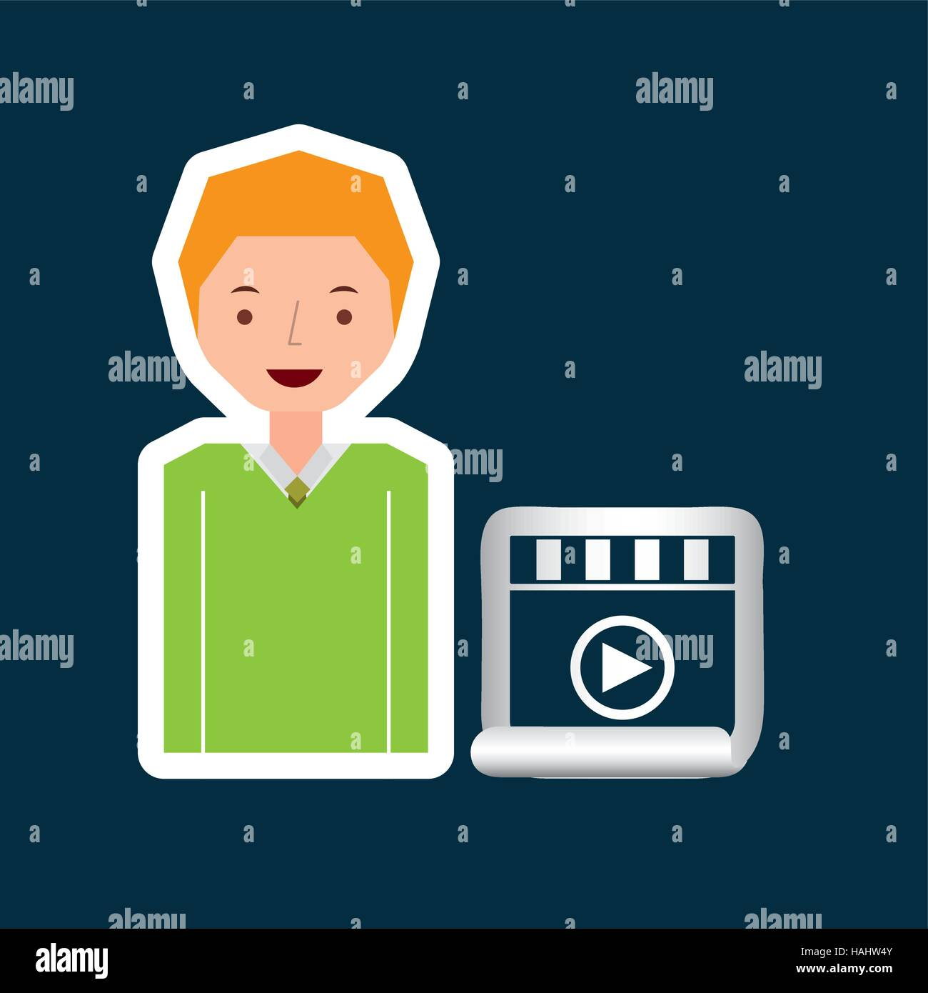 Cartoon Video Player Guy Design Vector Illustration Eps 10