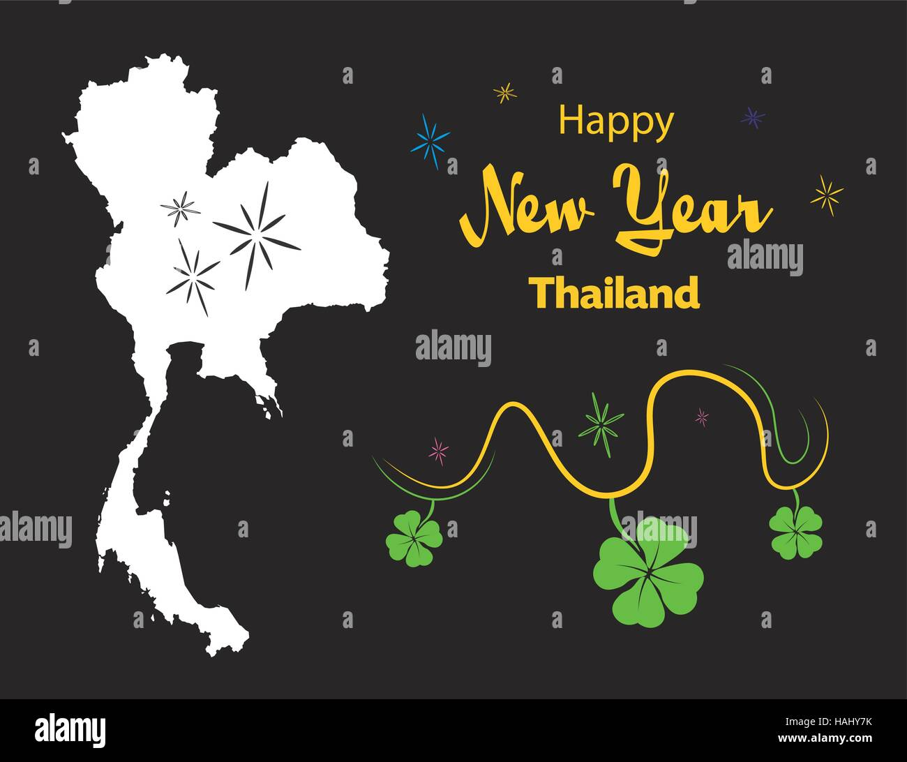 happy new year illustration theme with map of thailand