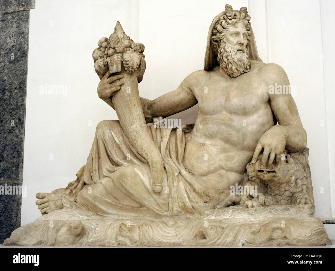 Statue of a river divinity with cornucopia. Farnese Collection of Rome. Field of Mars. 2nd century AD. Italy. National - Stock Image
