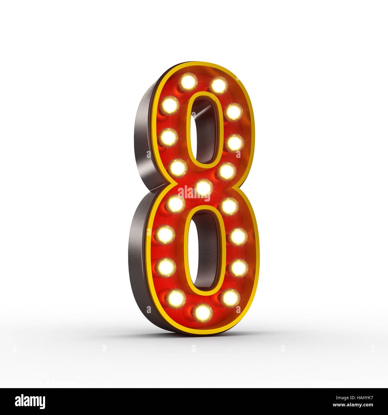 High quality 3D illustration of the number eight in vintage style with light bulbs illuminating it. Clipping path - Stock Image