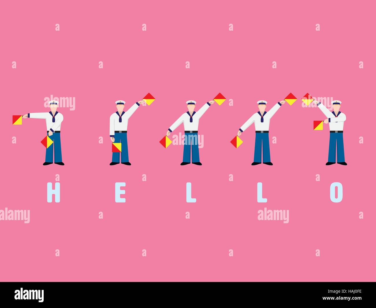 Flat design sailors signaling the word HELLO with flag semaphore system - Stock Image