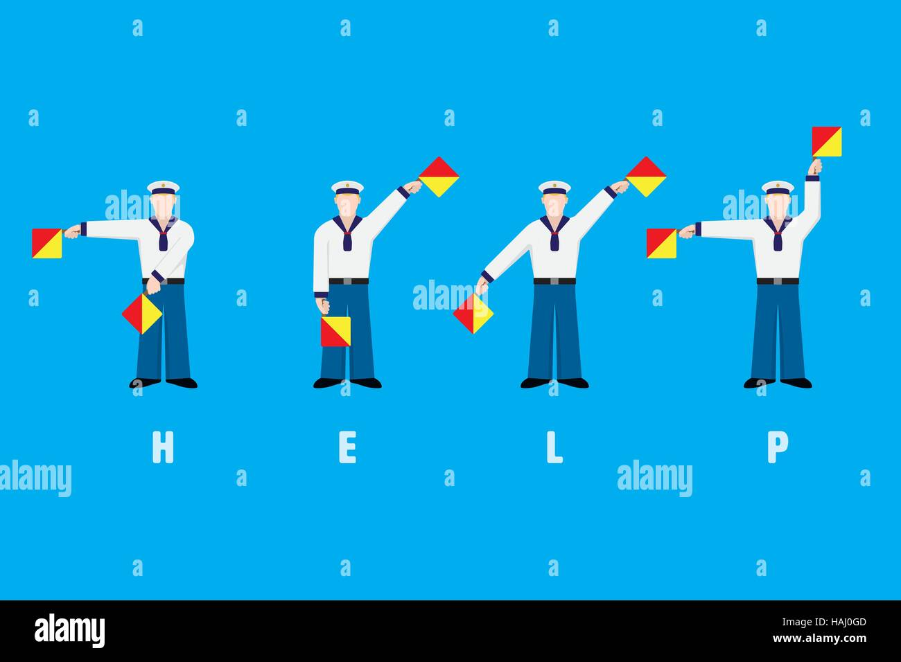 Flat design sailors waving signal flags, spelling word help with flag semaphore system - Stock Image