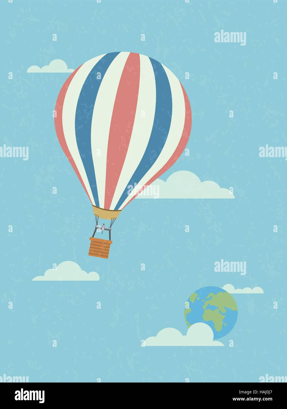 Global travel concept, hot air balloon in the sky leaving planet earth. Retro style, grunge texture, pastel colors - Stock Image