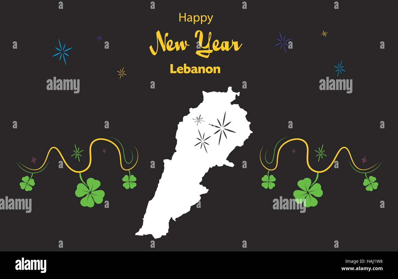 happy new year illustration theme with map of lebanon