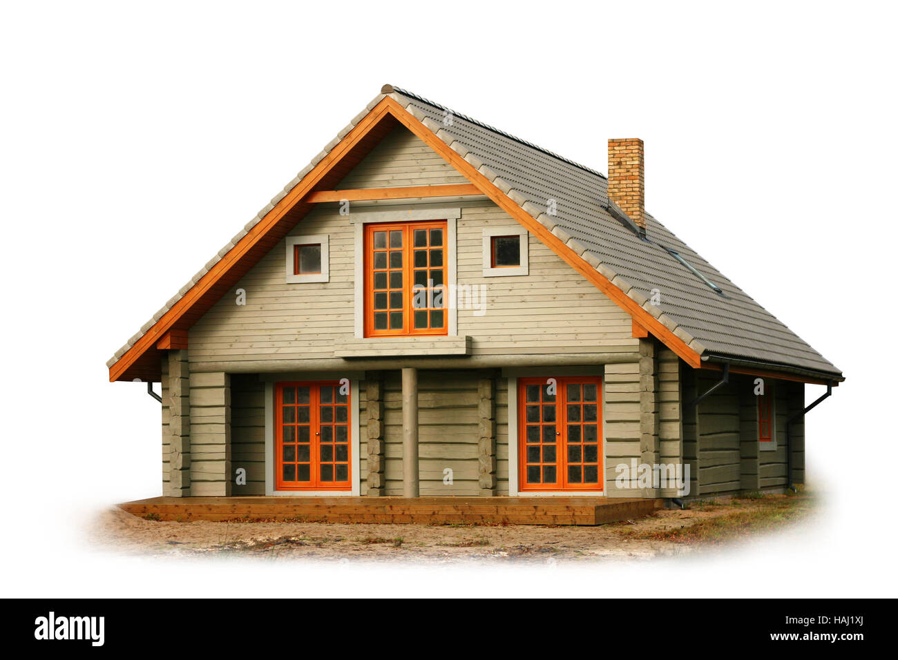 wooden house isolated on white - Stock Image
