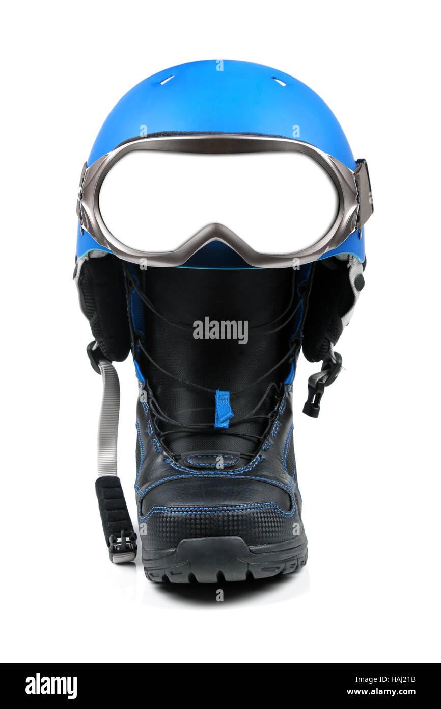 snowboard equipment - boot, helmet and ski goggles - Stock Image