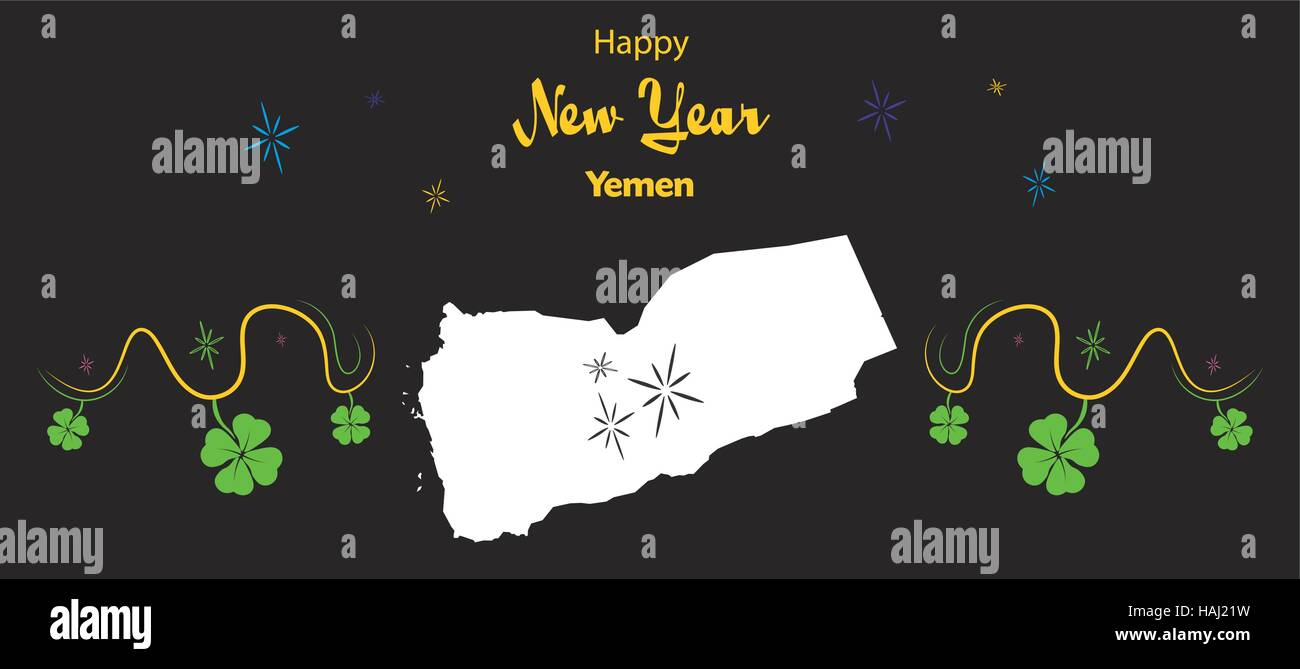 Happy New Year illustration theme with map of Yemen - Stock Vector