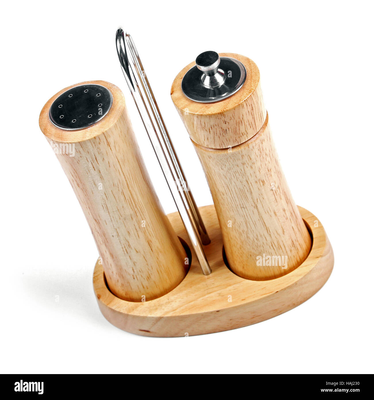 salt and pepper mills isolated on white - Stock Image